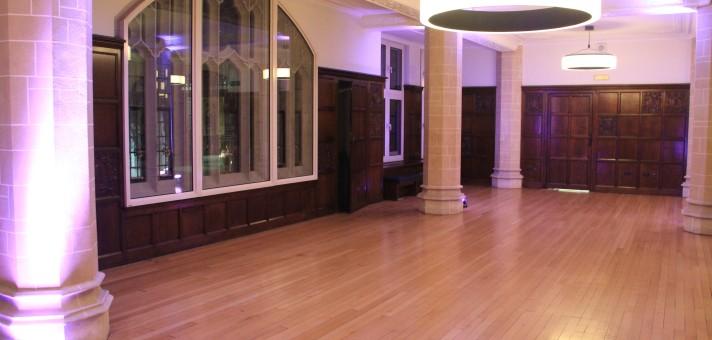 Interior event space wooden floor