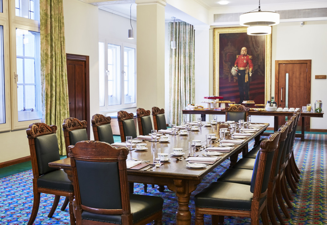Buffet in boardroom style set up